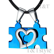 T&T Blue Stainless Steel Puzzle Pendant Necklace For Couple Two Chains (NP64F)