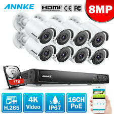 ANNKE 4K Video 8MP CCTV Kit System 16CH NVR Home Surveillance POE System IP67 1T