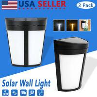 2x LED Solar Power Dusk to Dawn Light Outdoor Yard Garden Wall Lamp Waterproof