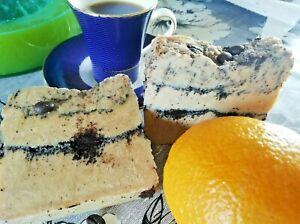 LUXURY HANDMADE ENERGISING&TONING COFFEE SOAP,GUARANA+BUTTERMILK,ORANGE&PASSION
