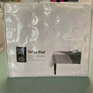 SALT Brand Vinyl Protective Table Pad - Cut to Fit - Oblong 52 in X 70 in  White