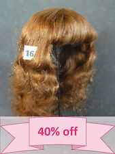 "DISCOUNT 40% - Human Hair DOLL WIG size 19.5"" (49.5 cm). Long red-brown hair."