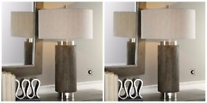 """PAIR MODERN DECOR 33"""" DRIFTWOOD FINISH TABLE LAMP BRUSHED NICKEL METAL UTTERMOST"""
