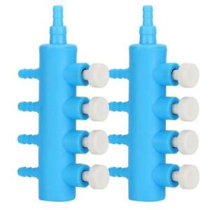 2Pcs Fish Tank Air Splitter Air Pipe Distributor Oxygen Pump Adapter (4 Way )