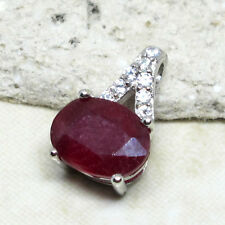 ADORABLE 1.5 CT GENUINE AFRICAN RUBY 925 STERLING SILVER PENDANT