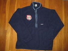 vtg navy blue PATAGONIA FLEECE JACKET Old Spice logo coat L pullover mens retro