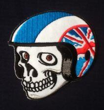 SKULL UNION JACK BRITISH BIKER MOTORCYCLE CHOPPER BIKE BADGE IRON SEW ON PATCH