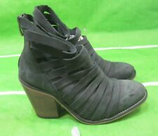 """Free People black 3.5""""block heel leather strap round toe Ankle Boots Size 5.5"""