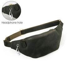 Men's Genuine Leather Waist Pack Pouch Belt Hiking Camp Outdoor Bag Phone Pocket