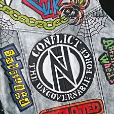 Punk Rock Painted Men's Biker Leather Studded Fastening Waistcoat / Vest Jacket