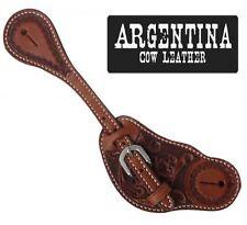 Showman Men's Floral Tooled Argentina Cow Leather Western Spur Straps