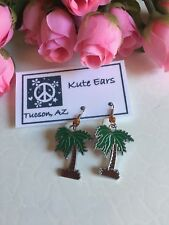 Silvertone Large Green Palm Tree with Brown Tree Trunk Dangle Earrings