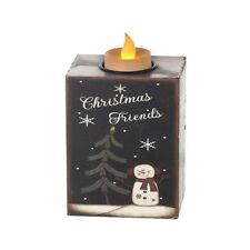 Heaven Sends Christmas Decoration Wooden Block with Snowman and LED Tealight