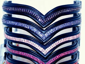 Black Leather Browband, Two Rows of Diamonte Detail