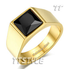 Luxury TT 14K GP Stainless Steel Amazing Square Black CZ Band Ring New (R337)