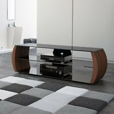 TV Stand Unit Media Console Table Modern Curved Wooden Legs and Glass Shelves