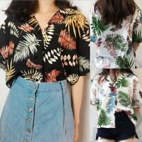 Women V Neck Printed Button T-shirt Ladies Summer Short Sleeve Casual Blouse Top