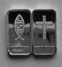 (50) 1 GRAM 0.999+ PURE SILVER CROSS ICHTHYS JESUS CHRIST LORD GOD SAVIOR