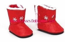 Red Snowflake Boots 18 in Doll Clothes Fits American Girl