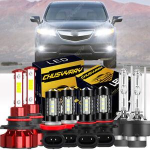 For 2007-2013 Acura MDX  8Pc Front LED HID Headlight Daytime Fog Light Bulbs Kit