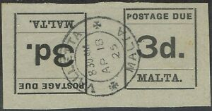 MALTA 1925 POSTAGE DUE 3D TETE BECHE PAIR USED