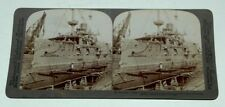 STEREO CARD BY UNDERWOOD AND UNDERWOOD--THE BATTLESHIP TEXAS IN DRYDOCK--1898