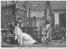 Sorcière, magicien, prestidigitateur, Ménestrel, Antique, Original-Gravure sur bois ca 1890