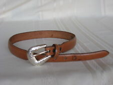 "Tony Lama Brown Leather Belt Silver Tone Buckle Size 24 -27 1/2""  5156L  USA"