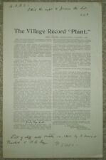 RARE, 1895, WEST CHESTER, PA, CHESTER COUNTY, ADVERT FOR SALE OF VILLAGE RECORD