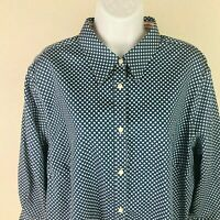 Chaps Women's Size 2X Top Button down shirt Blue with White Stars 3/4 Sleeves