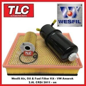 WK44 Air Oil Fuel Filter Kit VW Amarok 2.0L CRDi Diesel 2011-on