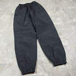 90s VTG REEBOK SWISHY WINDBREAKER Pants M UnLined Shiny Black Nylon Glanz