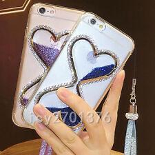 Bling Glitter Quicksand Hourglass Soft Back Phone Dynamic Cover Case & strap E