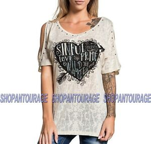 Sinful Shady Hollow S3668 New Short Sleeve Fashion T-shirt Top By Affliction
