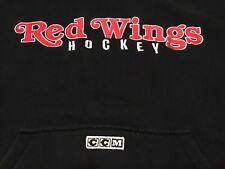 Vintage Detroit Red Wings CCM Smaller Fit XL Black Sweatshirt Hoodie NHL Hockey
