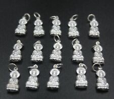 10pcs New 925 Sterling Silver Pendant Bless Kwan-Yin Charm for DIY Jewelry 20mmL