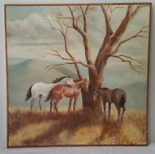 Utopian midday horses Oil on Canvas Painting Singed E. Sirois
