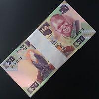 Full Bundle 100 PCS, Zambia 50 Kwacha,1986-1988, P-28, UNC, Lot Pack