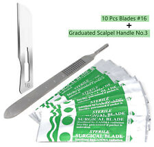 10 Scalpel Blades 16 Includes 3 Metal Handle Suitable For Dermaplaning Crafts