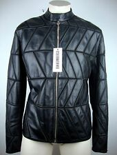 Dirk Bikkembergs giacca di pelle leather jacket Biker Giacca Tg. 52 Black NUOVO con ETIKET