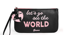 GUESS Black Pink Logo Travel Graphic Wristlet Pouch Bag, Lets Go.Free Shipping