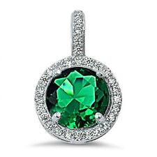 2.5 ct. Emerald & White Sapphire Halo Pendant Necklace in Solid Sterling Silver
