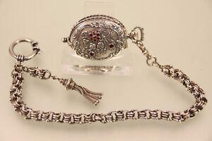Ausgefallene Damen Taschenuhr Silber 835 mit Granat Bes. Bartel & Sohn m Kette