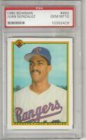 Juan Gonzalez 1990 Bowman Texas Rangers Card # 492 GEM MINT 10