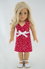 4th of July Red Summer Dress American Made Doll Clothes For 18 Inch Girl Dolls