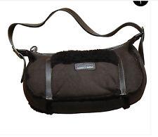Authentic Longchamp women's brown fur bag sheepskin hobo purse buckle handle