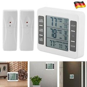 Funk Digital Kühlschrank Thermometer Gefrierschrank Temperatur + 2 Sensors Alarm