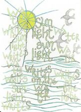 Robert Lax - Poetry Notecard - Wa-Ter -Writes -Sun Lights- Writes Wa-Ter Writes