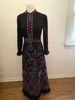 Vintage designer Nora Bradley Wool Maxi Psychedelic Embroidered Paisley Dress