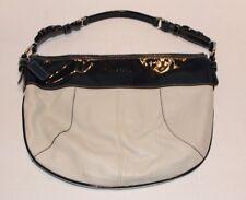 Genuine Coach Laura Hobo Cream Leather Navy Patent Trim Handbag C1026-F14886